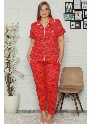 Akbeniz Kadın Pamuklu Cepli Kısa Kol Büyük Beden Pijama Takım 202066 Kırmızı